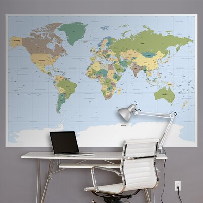 World Map Wall Mural brewster home fashions komar world map wall mural & reviews | wayfair