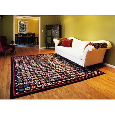 Black Area Rugs homespice decor penny coin black area rug & reviews | wayfair
