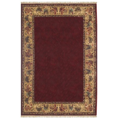 American Home Rug Co. Chicken And Rooster Hand Tufted Burgundy Area Rug U0026  Reviews | Wayfair