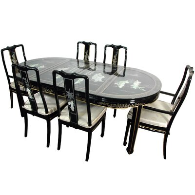 Oriental Dining Room Sets oriental furniture lacquer 7 piece dining set | wayfair