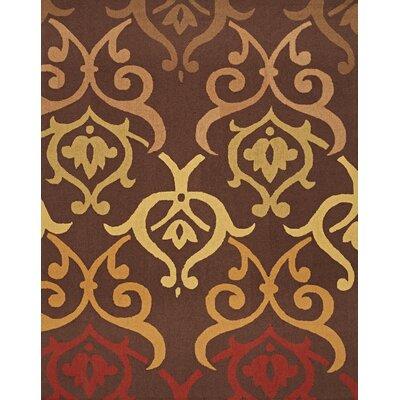 InnerSpace Luxury Products Cosette Fleur De Lis Brown/Red Rug | Wayfair