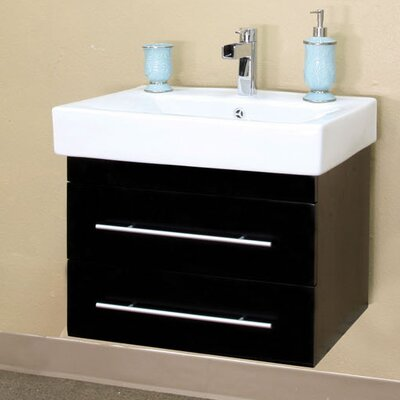 "bellaterra home pickering 25"" single wall-mounted bathroom vanity"