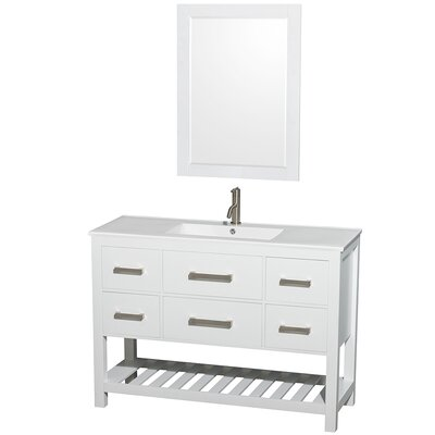 Brilliant Single White Bathroom Vanities Collection Natalie 48 With Ideas