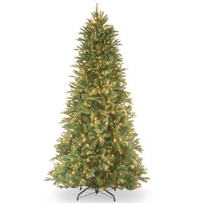 National Tree Co. Tiffany Fir 7.5u0027 Green Slim Artificial Christmas Tree  With 600 Pre Lit Clear Lights With Stand U0026 Reviews | Wayfair