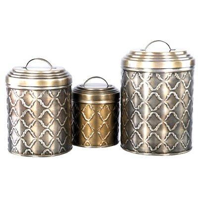 Home essentials and beyond diamond 3 piece canister set for Hearth and home designs canister set