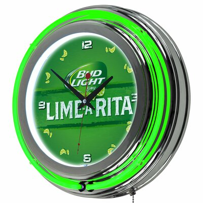 Trademark Global Bud Light LimeARita Neon 145 Wall Clock Wayfair