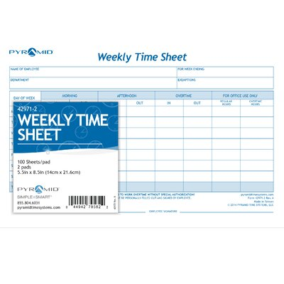 Pyramid Weekly Time Sheet Pads  Reviews  Wayfair