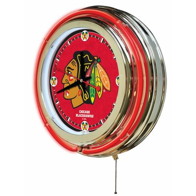Holland Bar Stool Nhl 15 Quot Double Neon Ring Logo Wall Clock