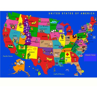 Kids World Fun Learning USA Cartoon Map Area Rug Reviews Wayfair - Map pictures for kids