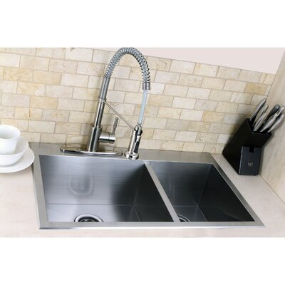 kingston brass uptowne 315 x 205 self rimming 7030 offset double bowl kitchen sink reviews wayfair. Interior Design Ideas. Home Design Ideas