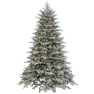 sterling inc natural cut flocked vermont 75 white spruce artificial christmas tree with 900 clear lights with stand reviews wayfair - 75 White Christmas Tree