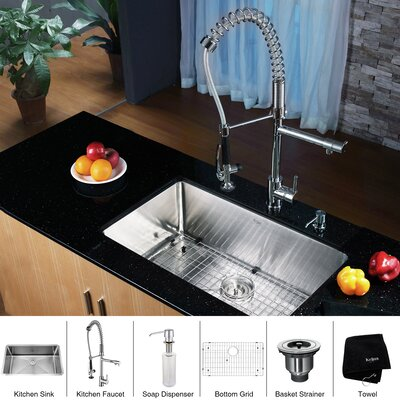 "Kraus Stainless Steel 30"" X 16"" Undermount Kitchen Sink With"