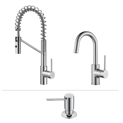 Kraus oletto commercial style kitchen faucet w bar prep for Industrial style kitchen faucet