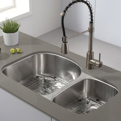 32 38 X 20 5 Double Basin Undermount Kitchen Sink With Noisedefend Soundproofing By Kraus