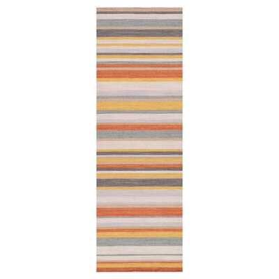 Charming Ebern Designs Dixon Golden Yellow/Misty White Striped Area Rug U0026 Reviews |  Wayfair