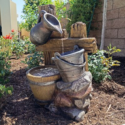 welland industries llc resin three bucket poly resin waterfall fountain wayfair - Waterfall Fountain