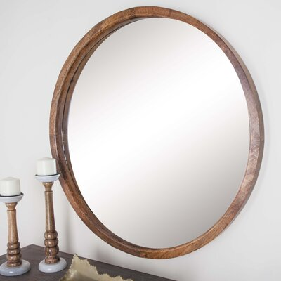 Round Wall Mirror cole & grey wood round wall mirror & reviews | wayfair