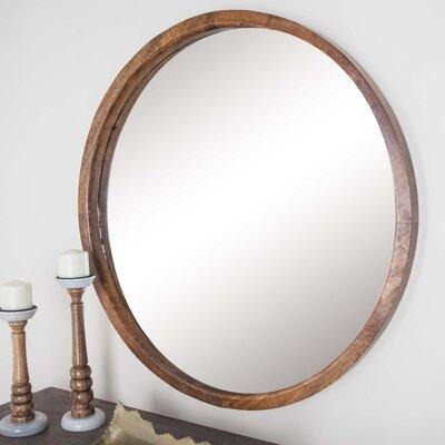 Round Wall Mirror cole & grey wood round wall mirror & reviews | wayfair