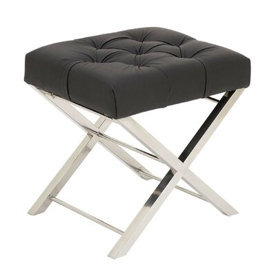 Cole & Grey Stainless Steel and Tufted Leather Vanity Stool ...