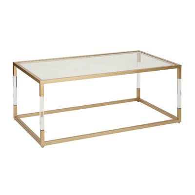 cole & grey metal and glass acrylic coffee table & reviews | wayfair
