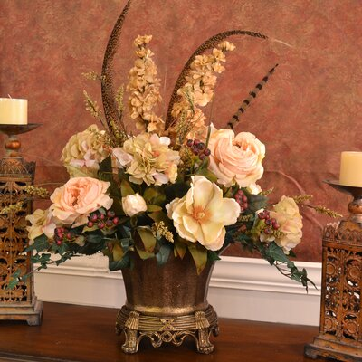 floral home decor elegant silk flower centerpiece with feathers