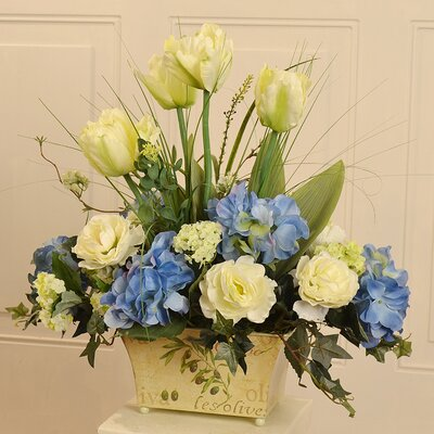 floral home decor tulip and hydrangea floral arrangement in
