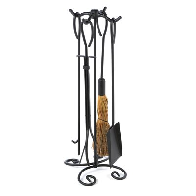 Uniflame 4 Piece Wrought Iron Ring Fireplace Tool Set With Stand