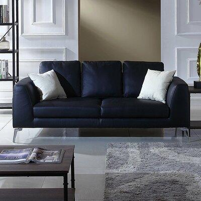 Orren Ellis Wrayon Mid Century Modern Plush Top Grain Leather Sofa | Wayfair