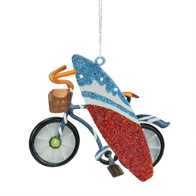 northlight striped bicycle with surfboard christmas ornament wayfair - Bicycle Christmas Ornament