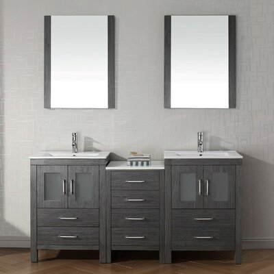 Brayden Studio Frausto 66  Double Bathroom Vanity Set with Ceramic Top and  Mirror   Reviews   WayfairBrayden Studio Frausto 66  Double Bathroom Vanity Set with Ceramic  . 66 Double Sink Vanity. Home Design Ideas