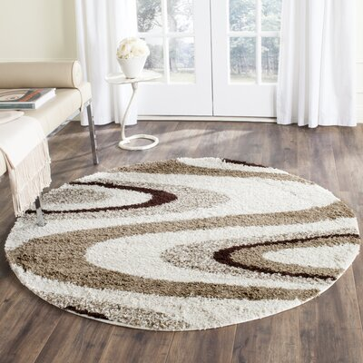 Brown Shag Area Rugs ebern designs driffield ivory/brown shag area rug | wayfair