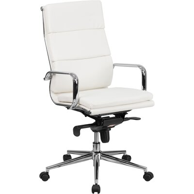 wade logan high-back leather desk chair & reviews | wayfair