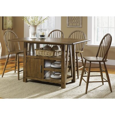 August Grove Centre Island Pub Dining Table In Weathered Oak - Weathered dining table