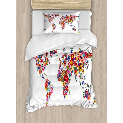 Ambesonne hippie world map with bunch of flower petals essence ambesonne hippie world map with bunch of flower petals essence fragrance garden growth atlas image duvet set reviews wayfair gumiabroncs Images