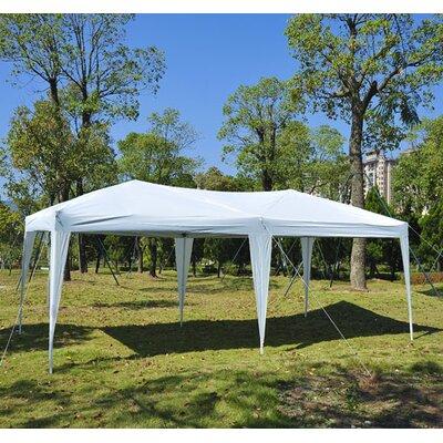 outsunny 10 ft w x 20 ft d steel popup party tent u0026 reviews wayfair