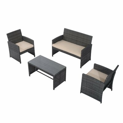 outsunny rattan wicker 4 piece deep sofa seating group with cushion u0026 reviews wayfair