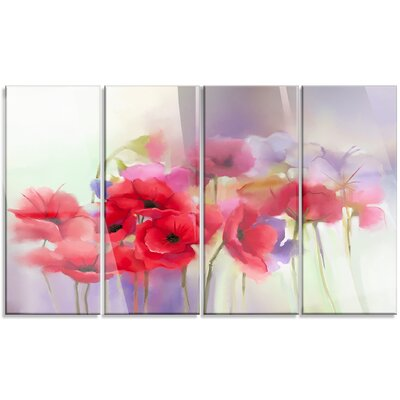 Designart watercolor red poppy flowers painting 4 piece painting designart watercolor red poppy flowers painting 4 piece painting print on canvas set reviews wayfair mightylinksfo Image collections