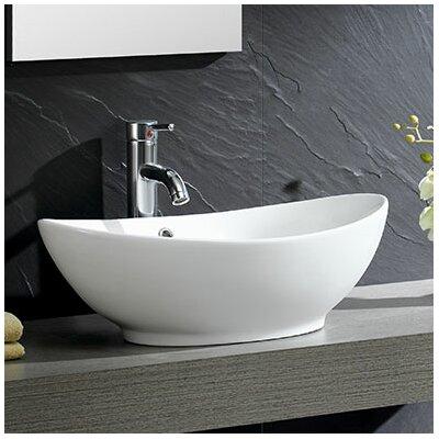 Fine Fixtures Modern Ceramic Oval Vessel Bathroom Sink With Overflow U0026  Reviews | Wayfair