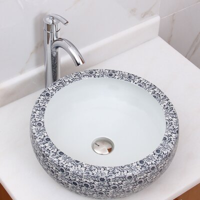 Blue And White Vessel Sink : Elimaxs Blue and White Floral Pattern Vessel Bathroom Sink Wayfair ...