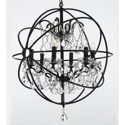 Willa Arlo Interiors Calderdale Orb 6 Light Crystal Chandelier