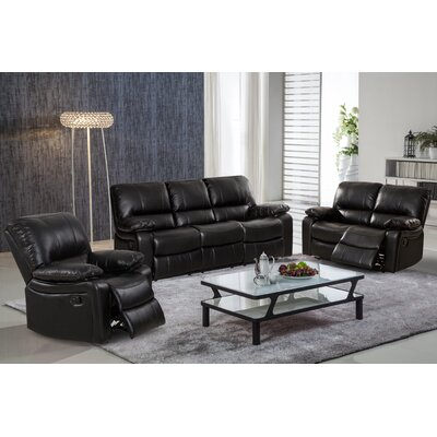 living in style layla 3 piece leather gel reclining living room