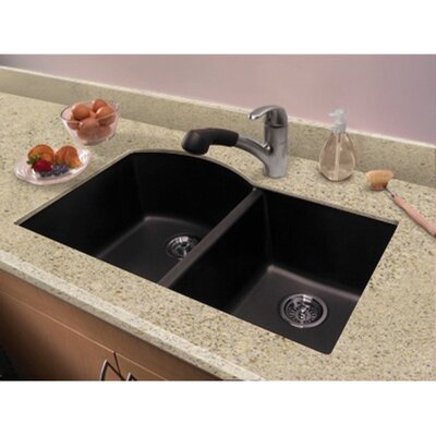 "Granite Undermount Kitchen Sinks transolid aversa 31.5"" x 20.5"" granite double offset undermount"