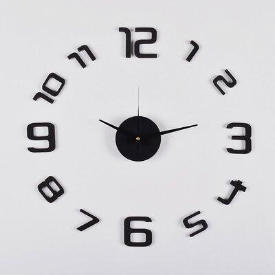 Black And White Wall Clock utopiaalley 3d frameless wall clock in black & reviews | wayfair