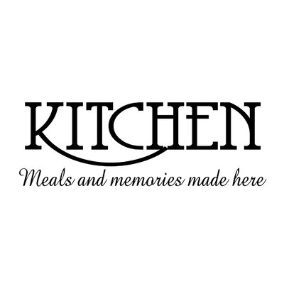 Fireside Home Kitchen Meals And Memories Made Here Wall Decal FSHM1188 on modern living room with tv