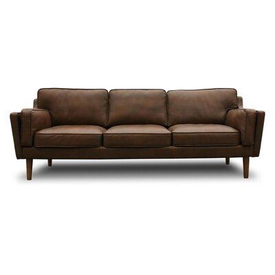 Union Rustic Kaufman Mid Century Modern Leather Sofa U0026 Reviews | Wayfair