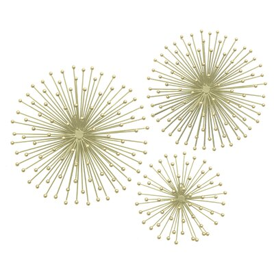 Starburst Wall Decor three hands co. 3 piece metal starburst wall décor set & reviews