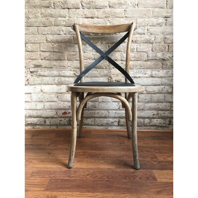 Union Rustic Lyndsay Antique Cross Back Upholstered Dining Chair