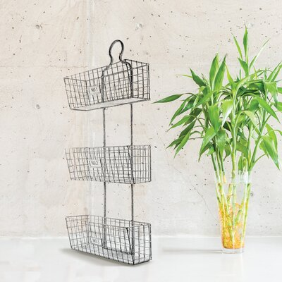 Wall Hanging Wire Baskets cyrg three tier wall hanging metal/wire baskets & reviews | wayfair