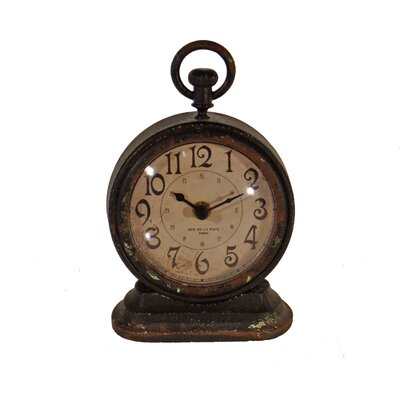 Fleur De Lis Living Metal Vintage Table Clock U0026 Reviews | Wayfair