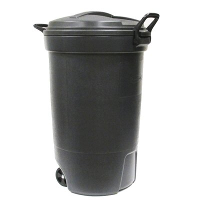 rubbermaid roughneck 32 gal black wheeled trash can with lid - Brute Trash Can